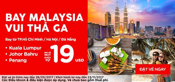 Mua vé Air Asia bay Malaysia vui thả ga