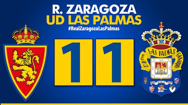 Marcador final Zaragoza 1-1 UD Las Palmas