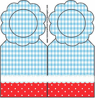 Red and Light Blue Squares: Free Party Printables.