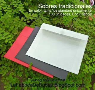 Sobres de colores y craft  para tarjetas invitaciones de boda en guatemala