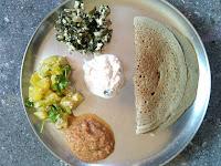 Pearl millet (Kambu) Dosa,  Ashgourd aviyal,  Neer Brahmi greens poriyal,  Tomato Chutney, Coconut Chutney