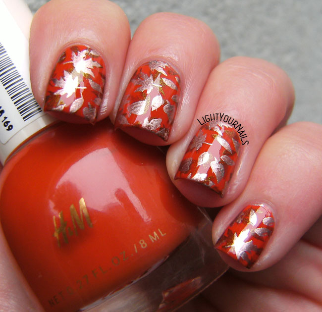 H&M October Russet stamped with leaves from DRK-C plate nail art