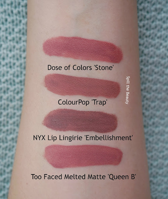 nyx lip lingirie embellishment review swatches comparison 6 dupe too faced queen b colourpop trap dose of colours stone