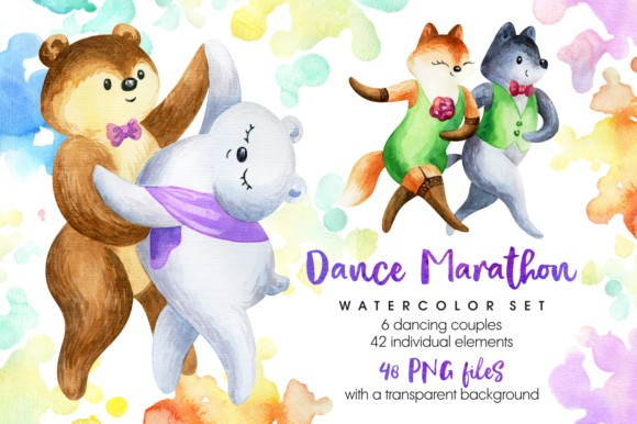 Dance Marathon Watercolor Animals Set