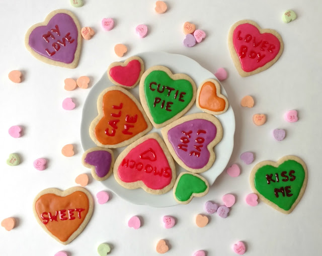 Make these darling (and delicious) conversation heart cookies for Valentines and share the love!