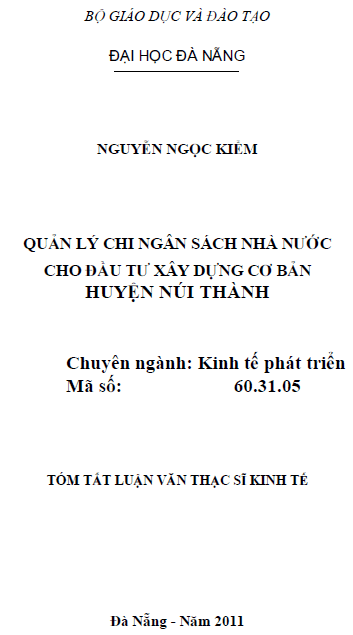 Quản lý chi ngân sách nhà nước cho đầu tư xây dựng cơ bản huyện Núi Thành