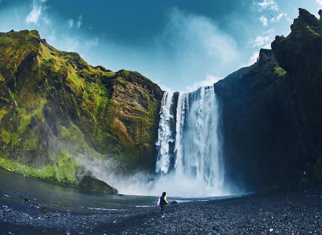 Skogarfoss waterfall near hotel in Vik, Iceland