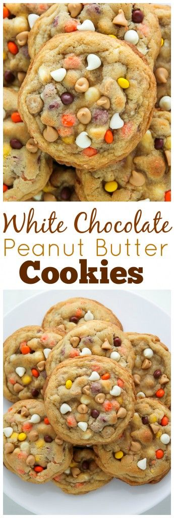 White Chocolate Reese's Pieces Peanut Butter Chip Cookies #whitechocolate #peanut #peanutbutter #butter #chip #cookies #chipcookies #