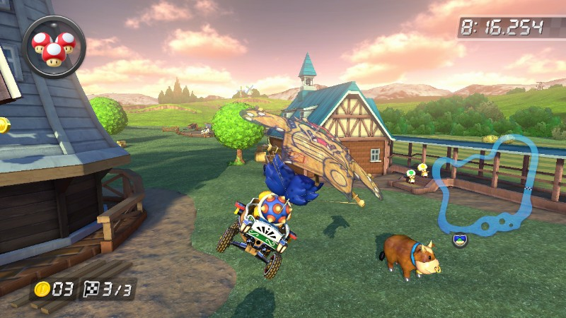 Mario Kart 8 Ludwig Von Koopa glider Moo Moo Meadows