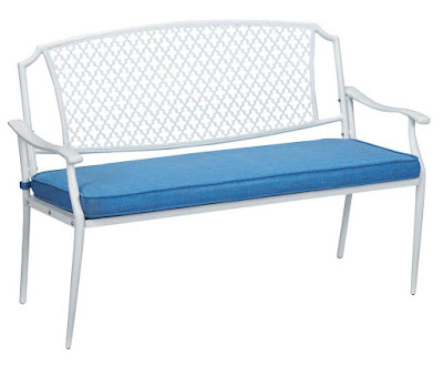http://www.homedepot.com/p/Hampton-Bay-Alveranda-Metal-Outdoor-Bench-with-Periwinkle-Cushion-HD17513/207189410
