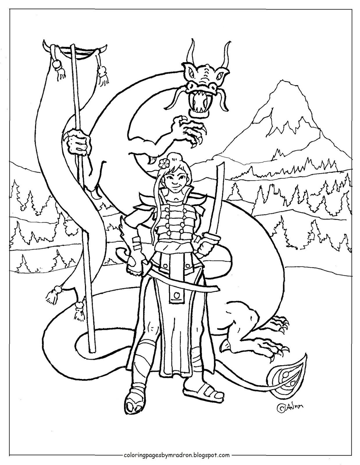 coloring pages for kids by mr adron printable mulan ninja