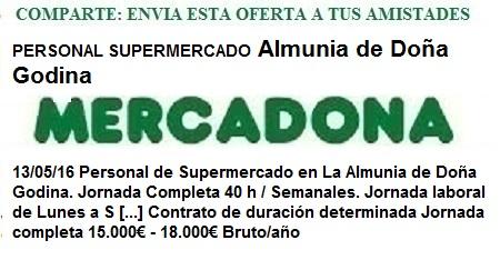 Ofertas de empleo Mercadona, La Almunia de Doña Godina, Zaragoza