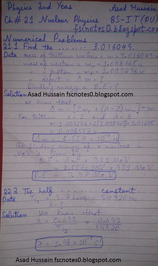 F.Sc ICS Notes: Physics XII: Chapter 21 Nuclear Physics Numerical Problems Asad Hussain