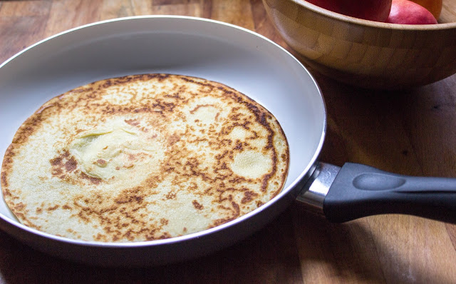 Pancake in a ceramic frying pan