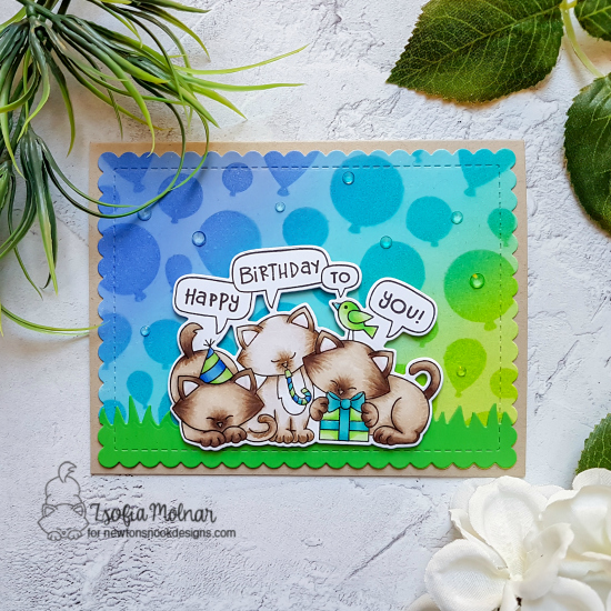 Cat Birthday Card by Zsofia Molnar | Newton's Birthday Trio Stamp Set and Balloons Stencil by Newton's Nook Designs #newtonsnook #handmade