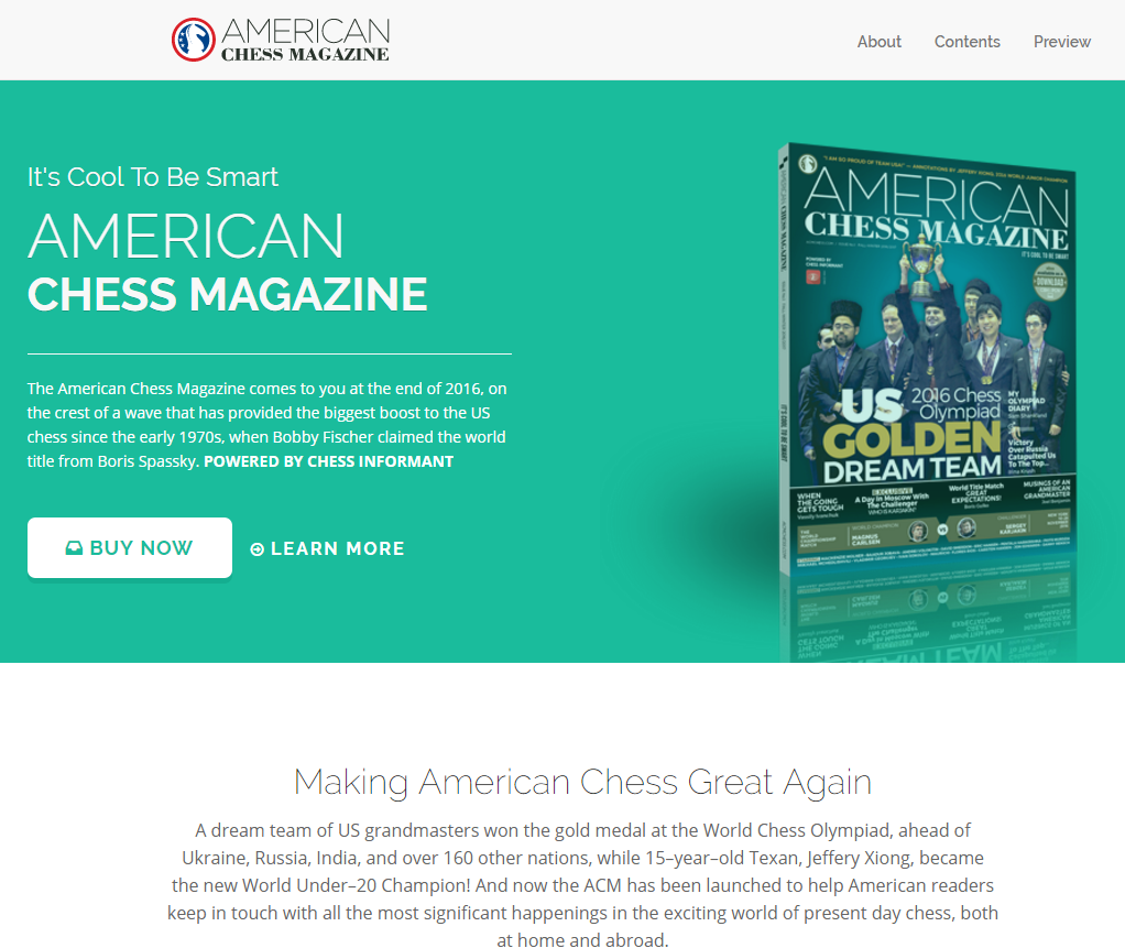 Peter long on chess get the american chess magazine for Online magazine subscription services
