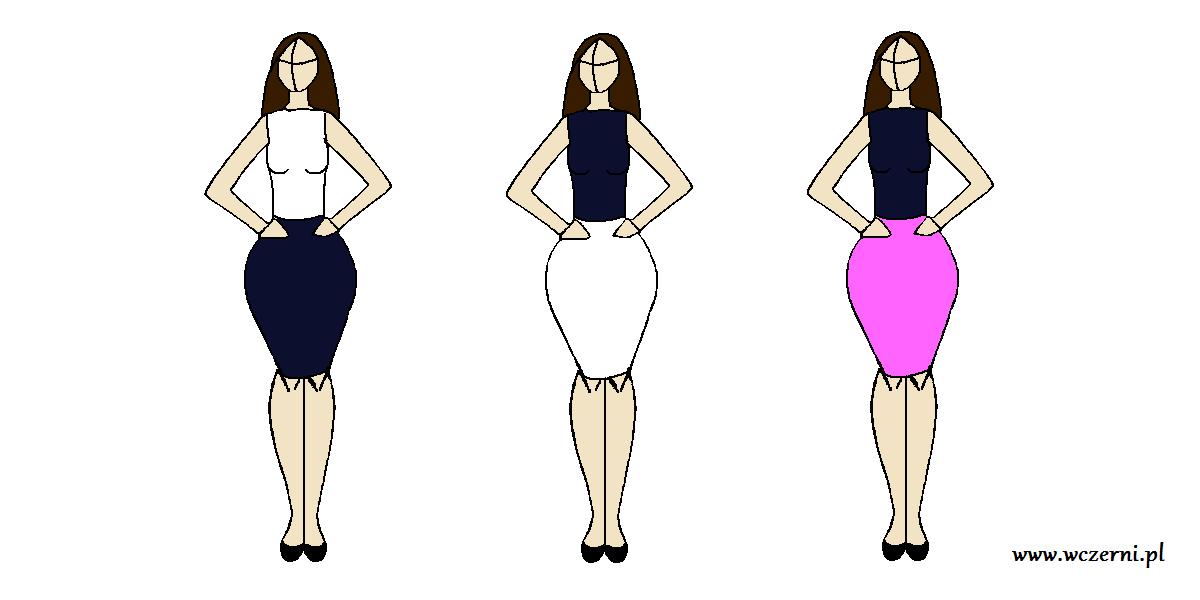 szerokie biodra wyszczuplone za pomocą odpowiednio dobranego koloru spódnicy