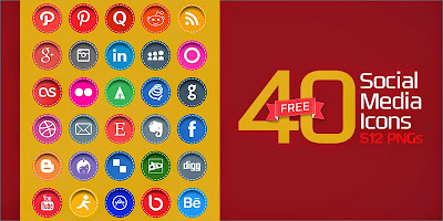 40 Stitched Social Media Icons