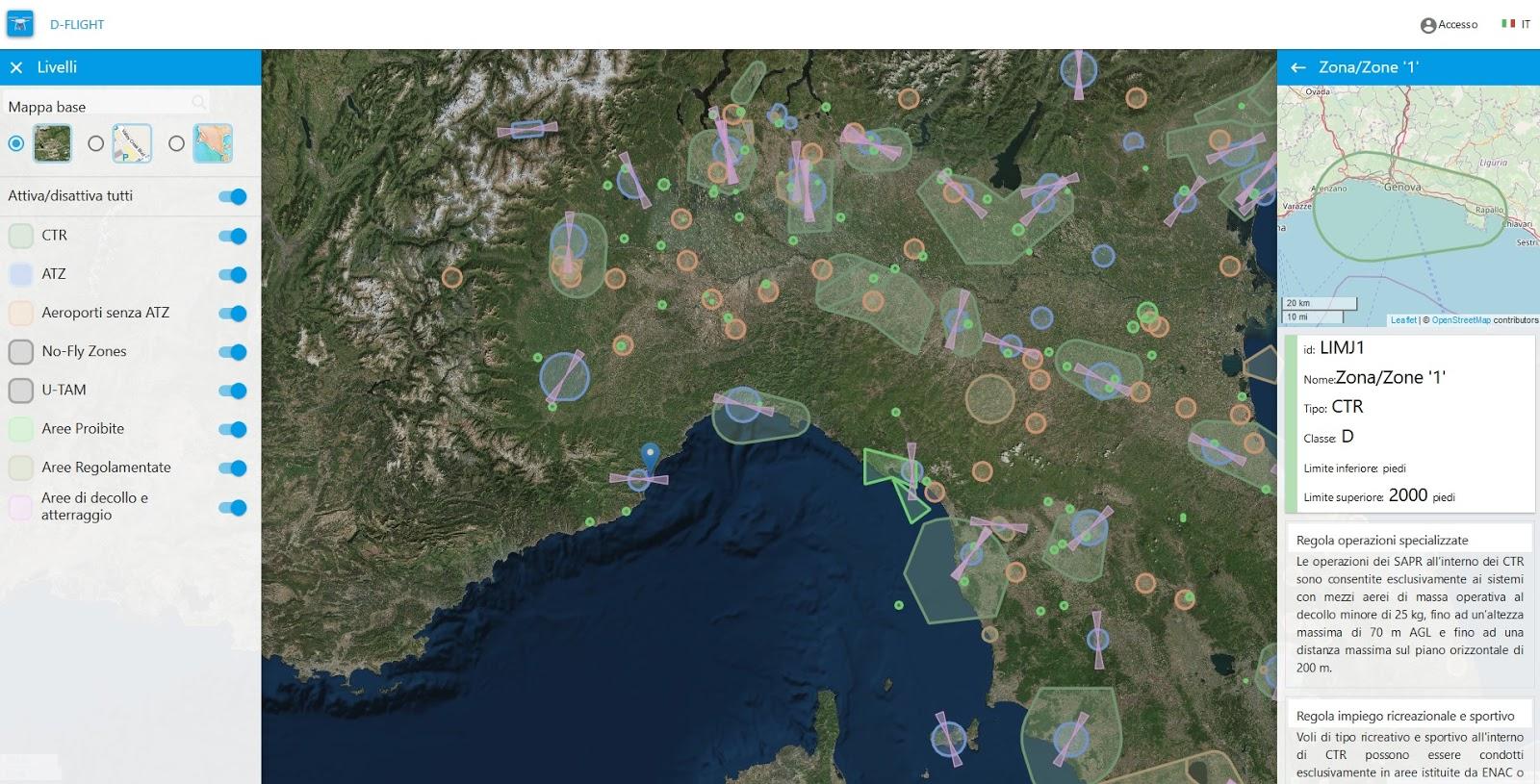 Cartina Italia Javascript.D Flight Ecco Le Mappe Gratuite Per Capire Dove Poter Volare Con Drone Ad Uso Ludico E Con Drone Professionale Quadricottero News