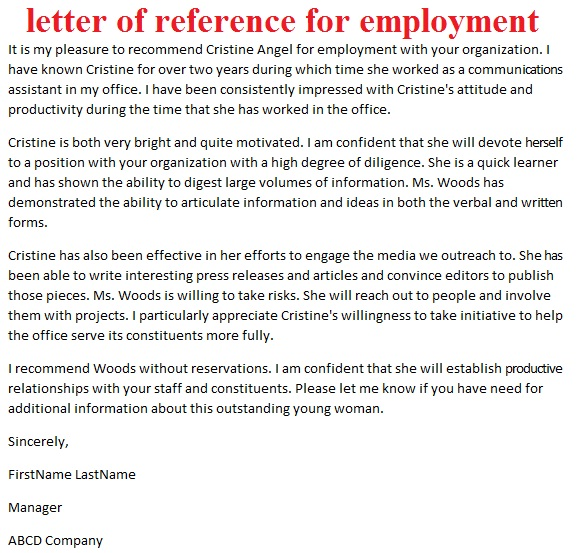 letters of reference letter of reference for employment - letter of employment recommendation