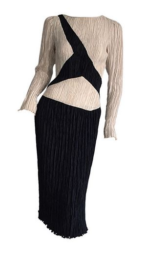 Mary McFadden beige and black dress