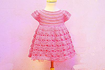 6 - Crochet IMAGEN Vestido rosa de abanicos a ganchillo Majovel Crochet
