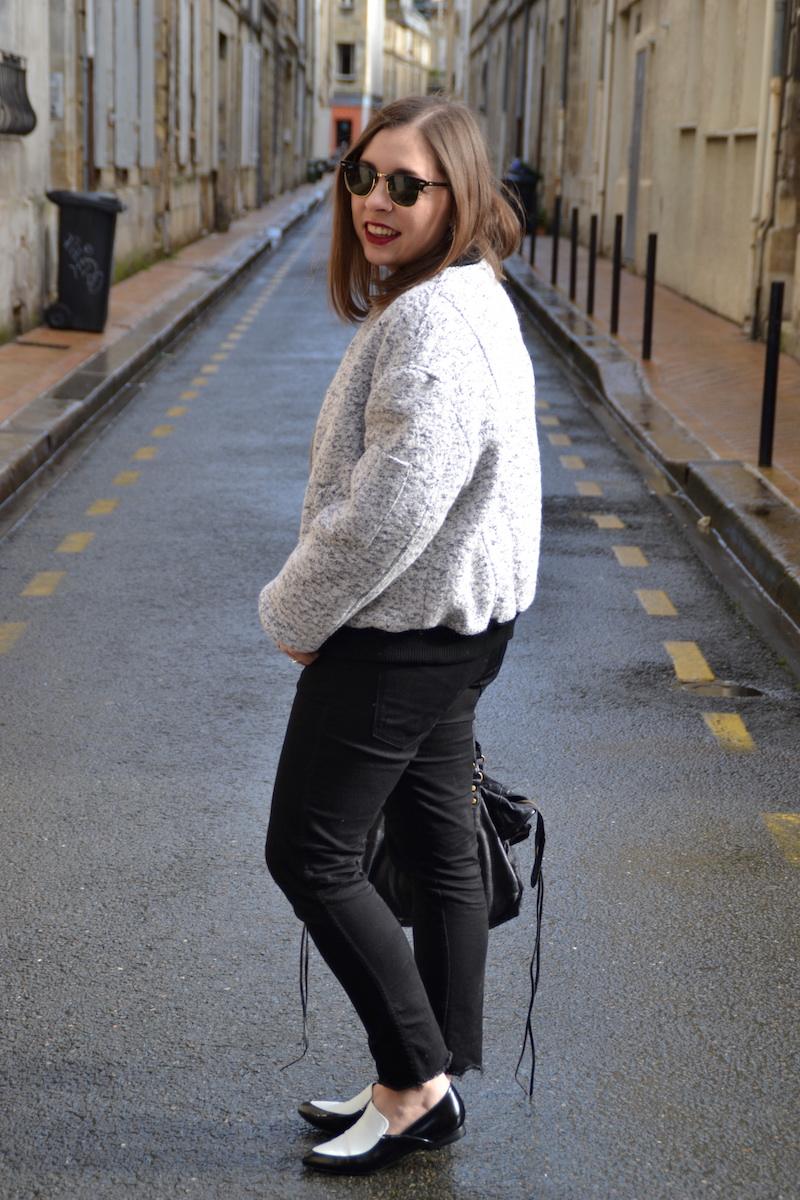 Bomber Mango gris, jean noir, chemise en jean Sheinside, mocassin noir et blanc ASOS,city bag Balenciaga, Clubmaster,collier  lily's creations, montre marbre Etsy