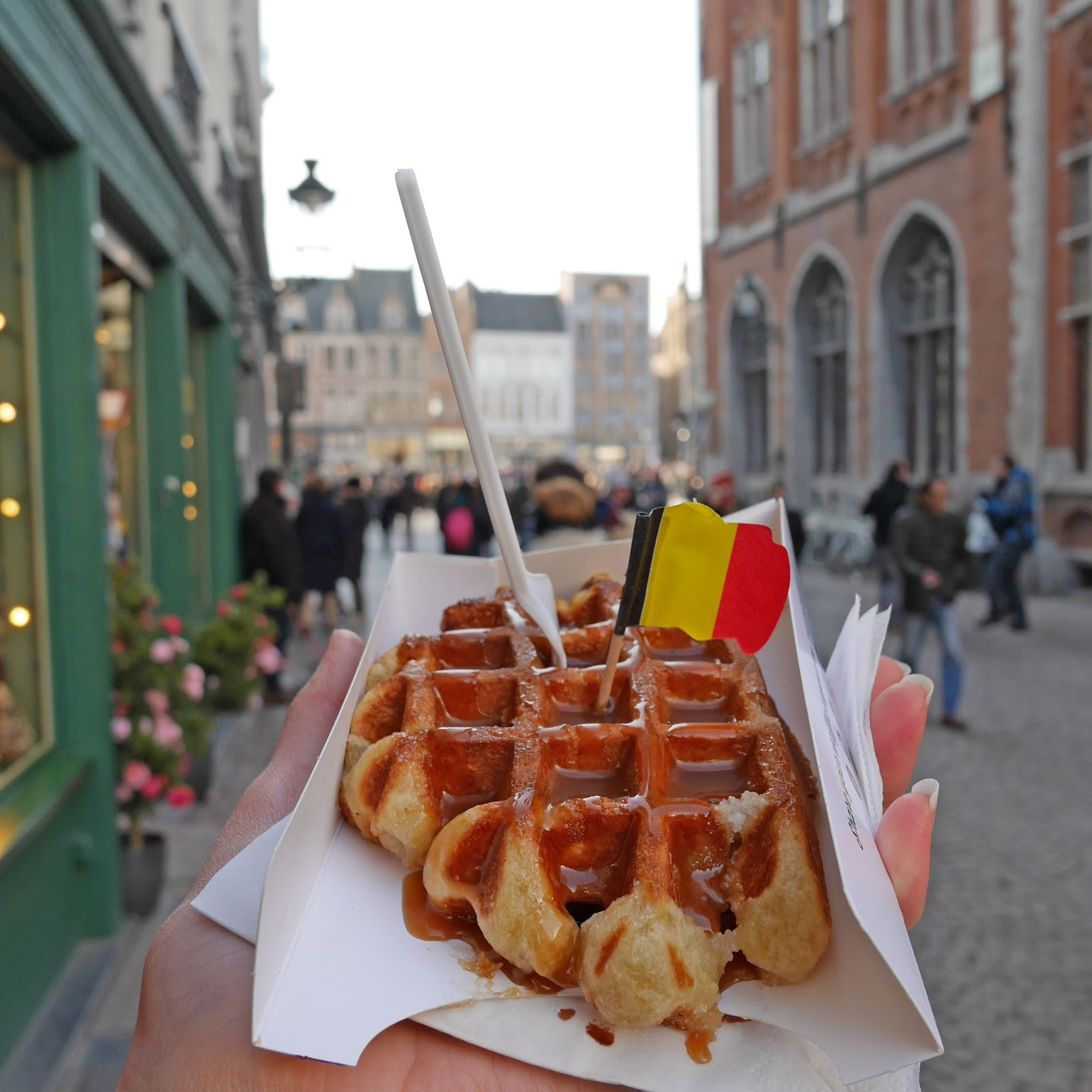 Waffles from Chez Albert in Bruges Market Square