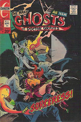 The Many Ghosts of Dr Graves #41, green druids drag a woman off to be sacrificed at Stonehenge, Charlton Comics