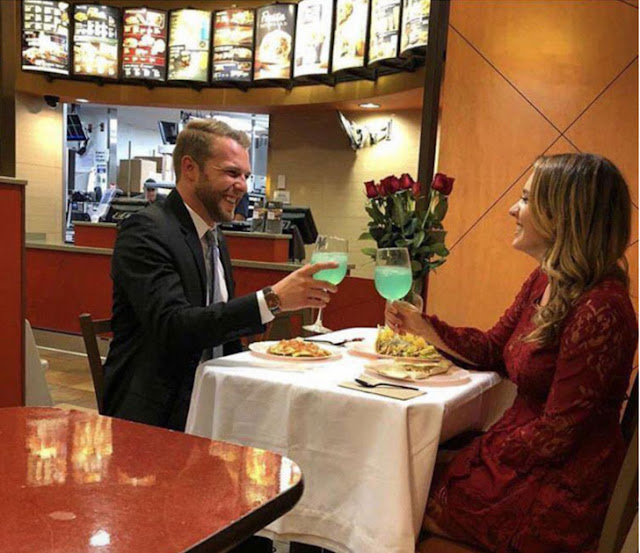Celebrating an anniversary at a fast food restaurant