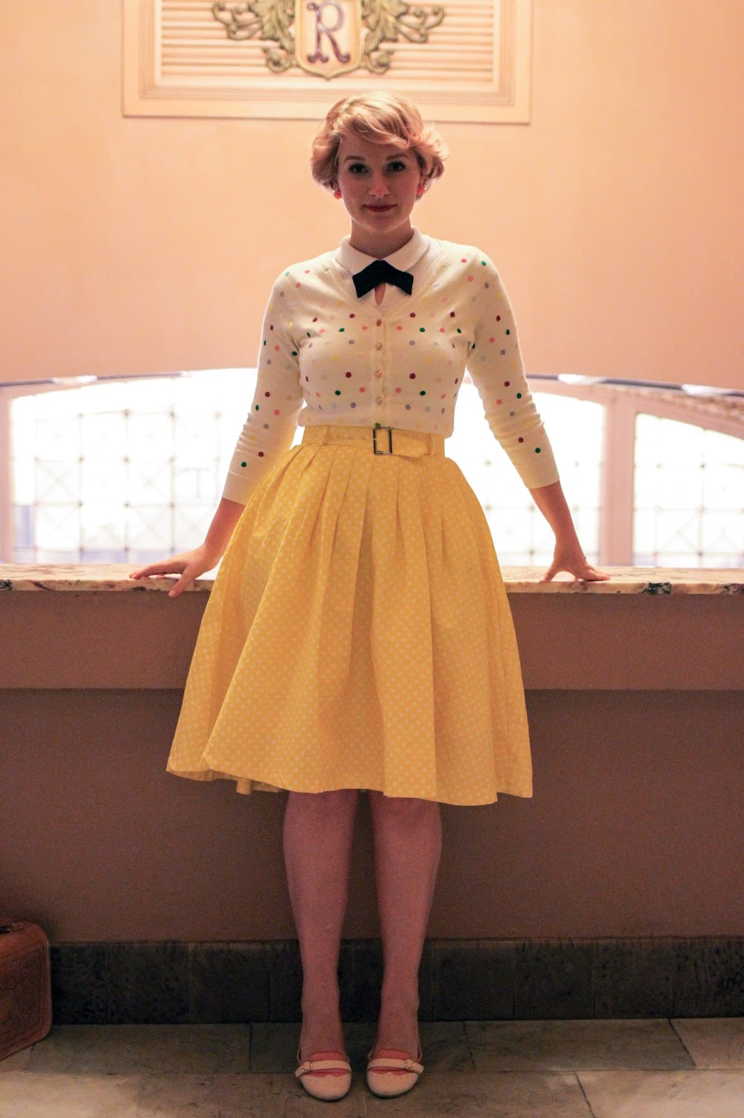 Liana of Finding Femme visits Regent Multiplex Cinema Ballarat wearing an embroidered Alannah Hill cardigan and yellow Modcloth skirt.