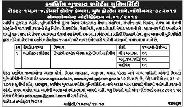 Swarnim Gujarat Sports University Recruitment 2016 for Assistant Professor