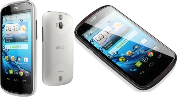 Acer Liquid E1 Specifications - LAUNCH Announced 2013, January  Also available as Acer Liquid E1 Dual with dual SIM card slot DISPLAY Type IPS LCD capacitive touchscreen, 16M colors Size 4.5 inches (~61.7% screen-to-body ratio) Resolution 540 x 960 pixels (~245 ppi pixel density) Multitouch Yes BODY Dimensions 132 x 68.5 x 9.9 mm (5.20 x 2.70 x 0.39 in) Weight 130 g (4.59 oz) SIM Single SIM (Mini-SIM) or Dual SIM (Mini-SIM, dual stand-by) PLATFORM OS Android OS, v4.1.1 (Jelly Bean) CPU Dual-core 1.0 GHz Cortex-A9 Chipset Mediatek MT6577 GPU SGX531u MEMORY Card slot microSD, up to 32 GB (dedicated slot) Internal 4 GB, 1 GB RAM CAMERA Primary Primary 5 MP, autofocus, LED flash Secondary VGA Features Geo-tagging Video 720p@30fps NETWORK Technology GSM / HSPA 2G bands GSM 850 / 900 / 1800 / 1900 - SIM 1 & SIM 2 (dual-SIM model only) 3G bands HSDPA 900 / 2100 Speed HSPA GPRS Yes EDGE Yes COMMS WLAN Wi-Fi 802.11 b/g/n, hotspot NFC Yes (single sim model only) GPS Yes, with A-GPS USB microUSB v2.0 Radio FM radio Bluetooth v3.0, A2DP, EDR FEATURES Sensors Accelerometer, gyro, proximity, compass Messaging SMS (threaded view), MMS, Email, Push Email Browser HTML Java No SOUND Alert types Vibration; MP3, WAV ringtones Loudspeaker Yes, with stereo speakers 3.5mm jack Yes BATTERY  Removable Li-Ion 1760 mAh battery Stand-by Up to 400 h Talk time Up to 8 h Music play  MISC Colors Black, White SAR EU 0.47 W/kg (head)  - MP3/WAV/WMA/eAAC+ player - MP4/H.264 player - Document editor
