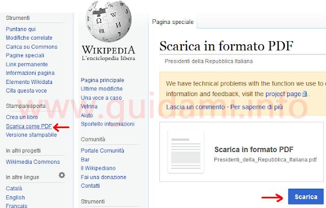Salvare in PDF sul PC dal browser articolo Wikipedia