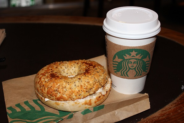 Coffee and bagel at Starbucks NYC