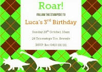 image of dinosaur party invitation in green