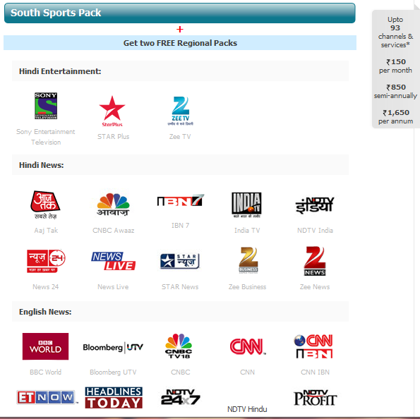 TATA Sky Package Details with Channel list and Pack Price