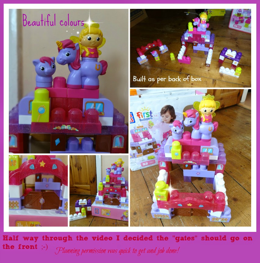 Mega Bloks First Builders Pony Palace collage of it built