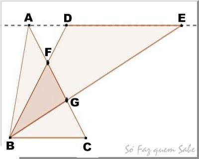 Figura do enunciado do exercício que pede para determinar a área de um quadrilátero a partir da composição de áreas de triângulos