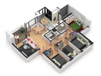 Denah Rumah 4 Kamar Tidur 3D 1