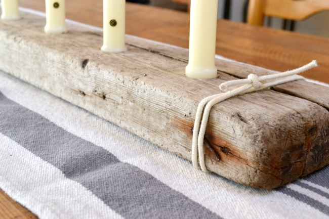 Driftwood board with candles
