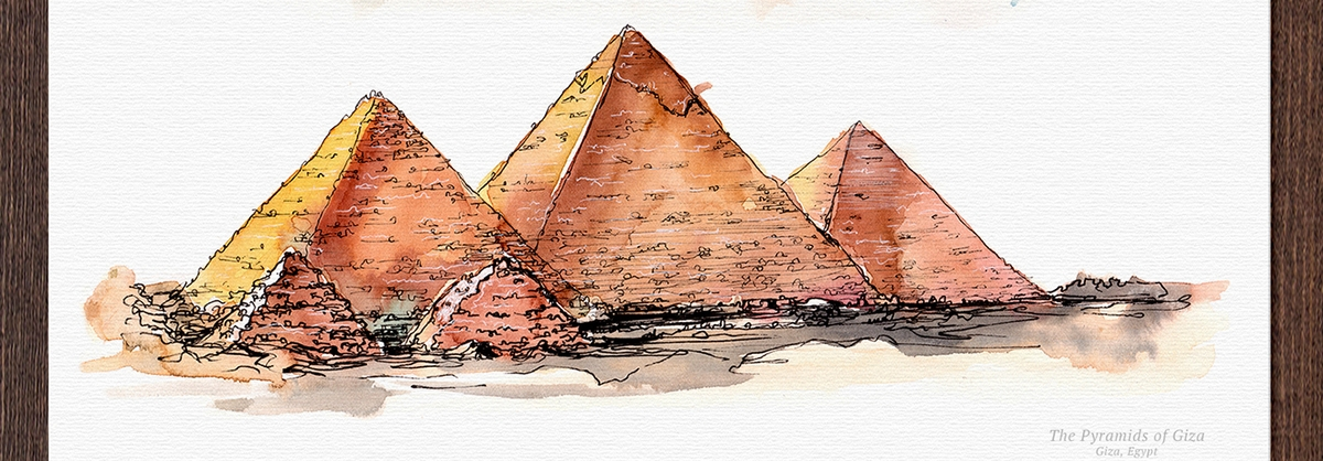 03-Pyramids-of-Giza-Egypt-Mucahit-Gayiran-Architectural-Landmarks-Mixed-Media-Art-Part-2-www-designstack-co