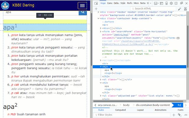 Gambar jendela Firefox ketika melakukan inspect element pada tulisan di laman kbbi.kemdikbud.go.id