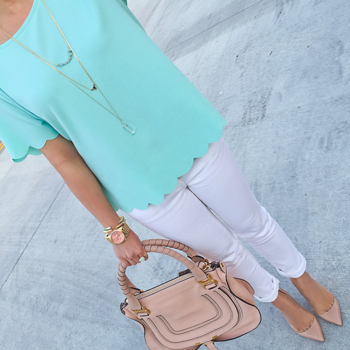 ASOS scallop hem tee BP stone bar layering necklace, Brandy Pham cylindar bracelet Chloe marcie small leather satchel chrisitan louboutin pigalle nude pointy toe pumps Kendra Scott bangle and opal ring Michael Kors runway gold pink watch
