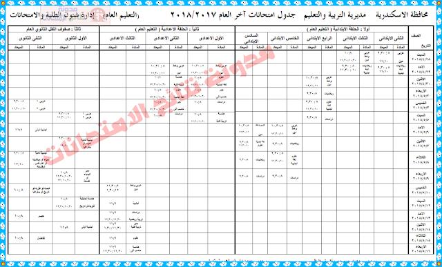 جدول امتحانات الصف السادس الابتدائى 2018 بمحافظة الإسكندرية (الشهادة الاعدادية أخر العام)