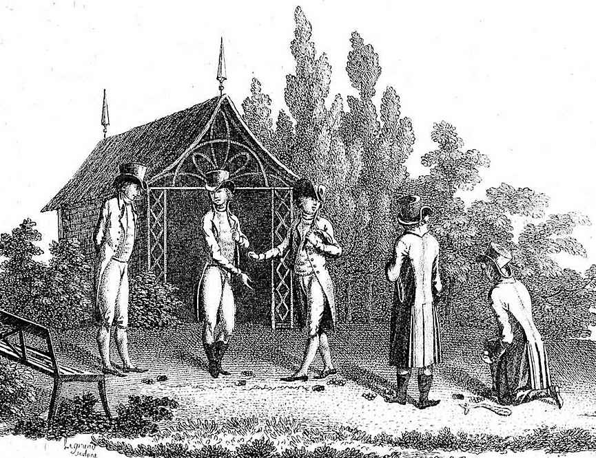 illustration of five twits gambling their money with marbles, from an 1806 book