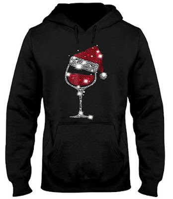 Diamond Wine Glasses Santa Hat Christmas T-Shirts Hoodie