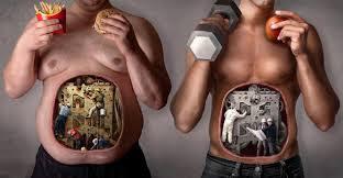 Comparativa del interior de un cuerpo obeso y uno saludable