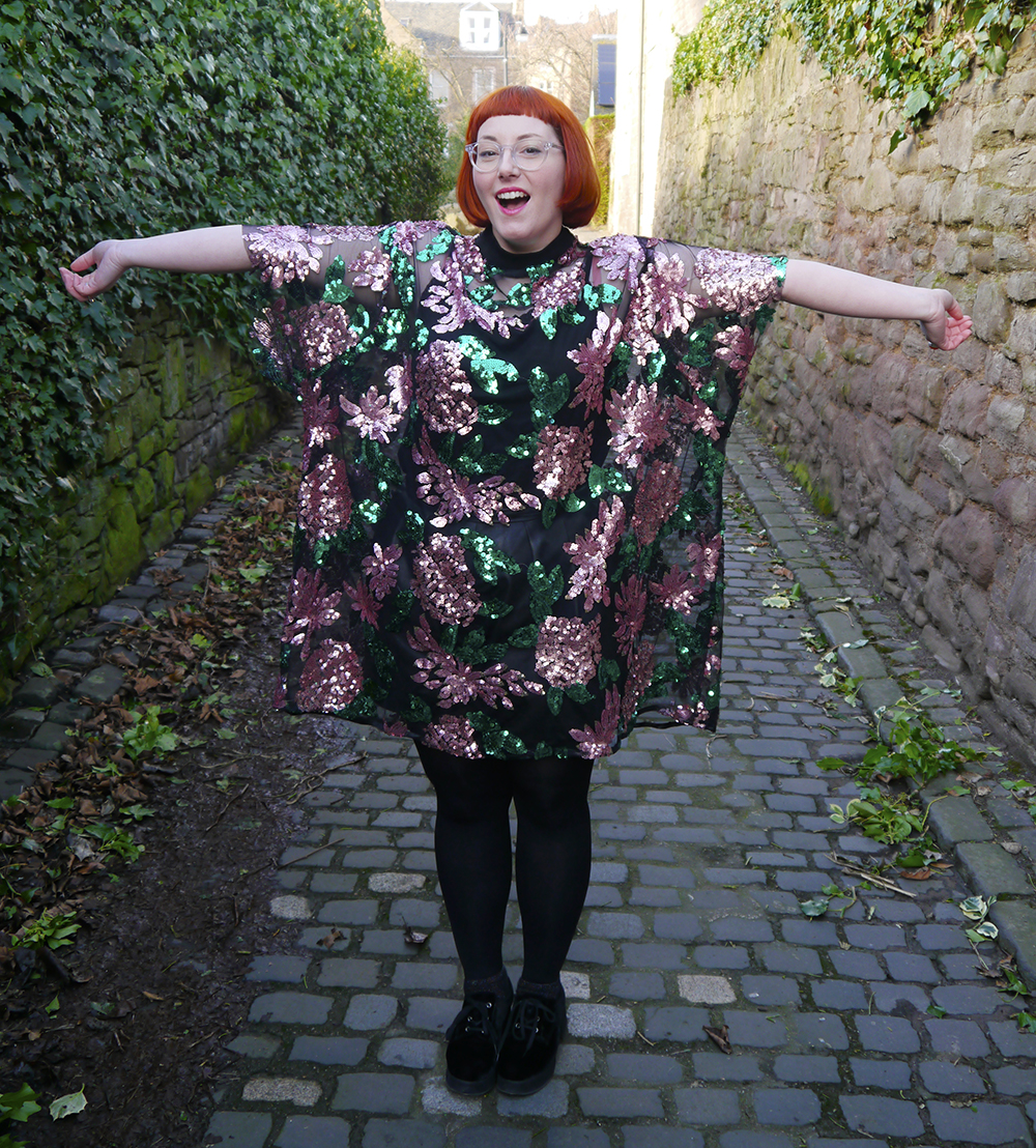 Isolated Heroes, Styled by Helen, Dundee designer, Scottish designer, Scottish blogger, Independent designer, street style, sequined outfit, floral sequin tshirt dress