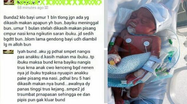 Bunda Tolong Baca Ini, Kisah Tragis Terjadi Pada Seorang Bayi 1 Bulan Kemudian Meninggal Dunia karena Diberi Makan Pisang